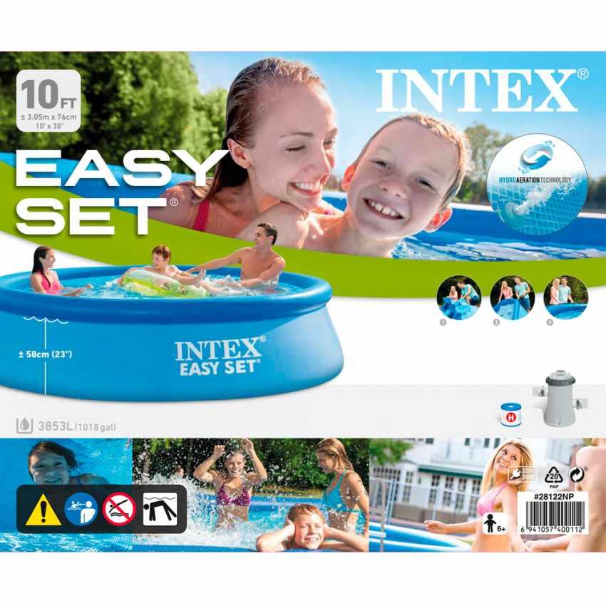 Intex 28122 Easy Set piscina fuori terra gonfiabile rotonda 305x76 - esterno