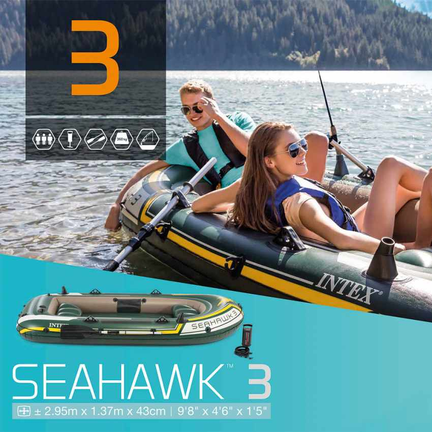 Canot gonflable Intex 68380 Seahawk 3 bateau Gonflable - indoor
