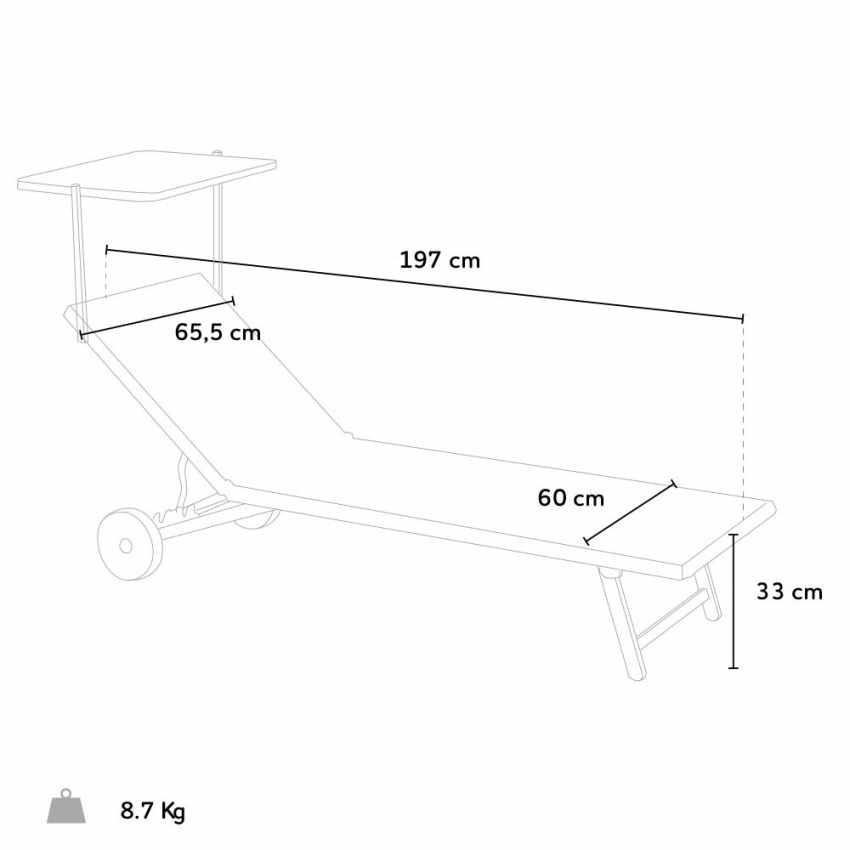 Lettini mare prendisole con ruote sdraio alluminio giardino piscina ALABAMA 2 pezzi - prezzo