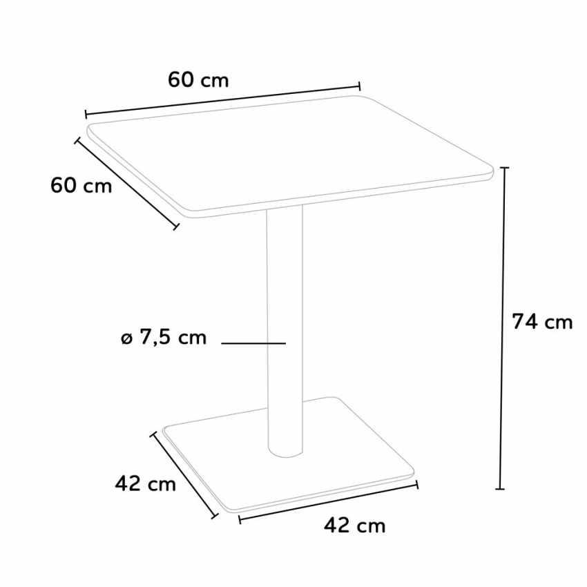 Tavolino 60x60 quadrato con base centrale per bar bistrot HORECA - arredamento