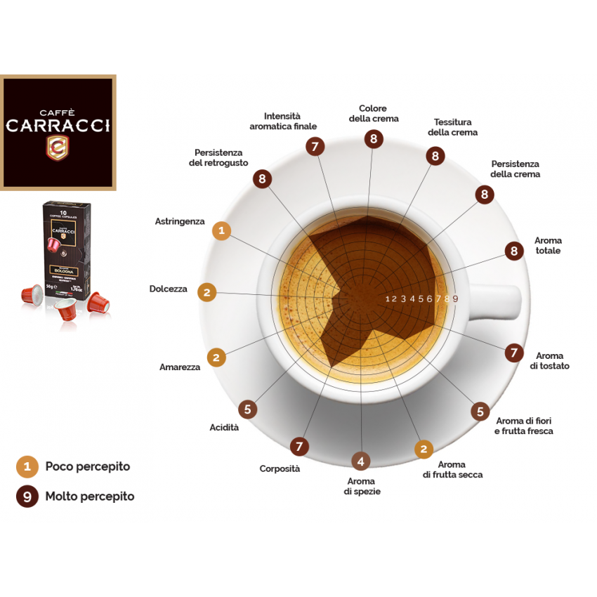 100 Coffee Capsules Compatible With Nespresso® Carracci BOLOGNA Blend - offert