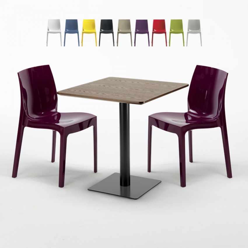 Tavolino Quadrato 60x60 cm Piano Effetto Legno con 2 Sedie Colorate ...