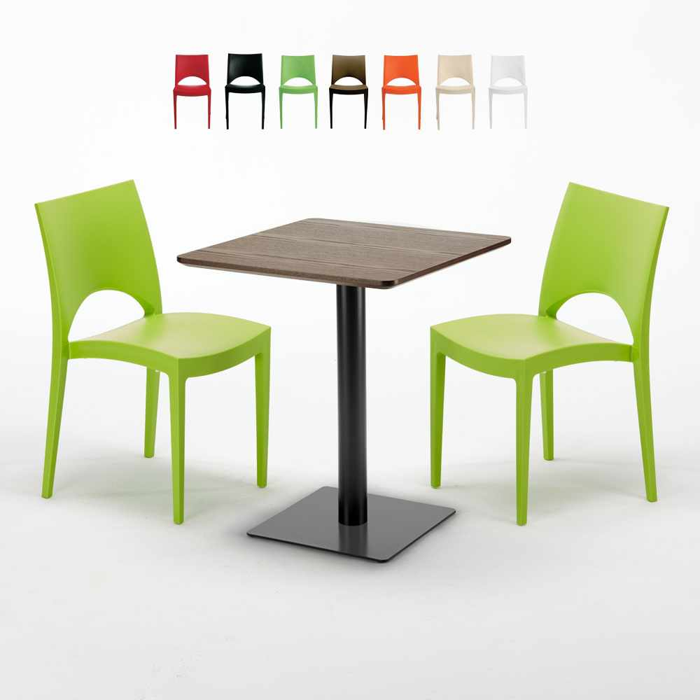 Tavolino Quadrato 60x60 Nero E Legno E 2 Sedie Colorate Paris Kiss