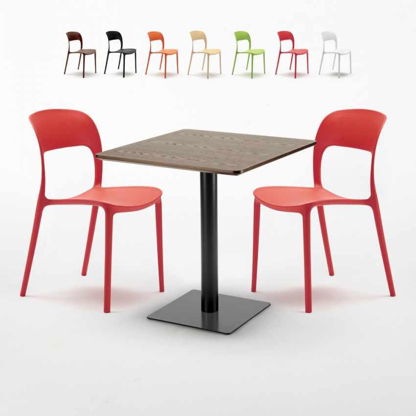 Tavolino quadrato 60x60 base nera e top legno con 2 sedie colorate ...