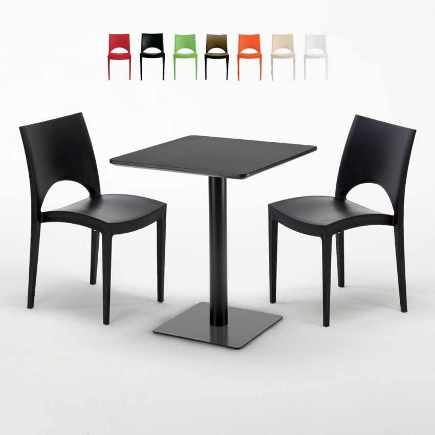 Tisch 60x60 Schwarz.Schwarz Tisch Quadratisch 60x60 Cm Mit 2 Bunten Stühlen Paris Licorice