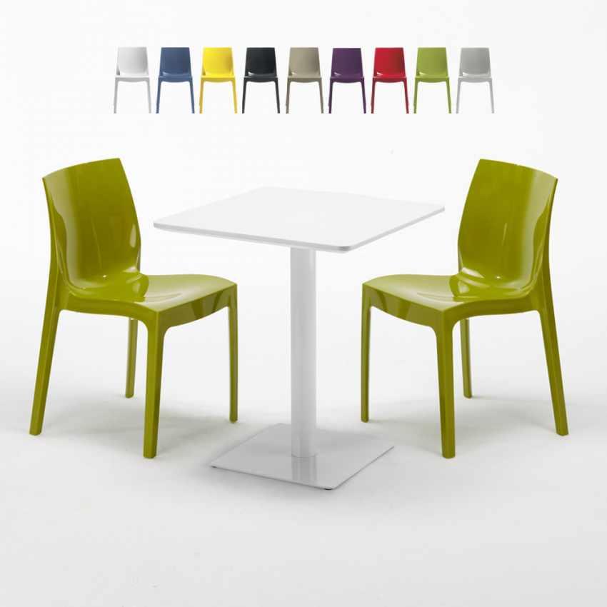 Weiß Ice 60x60 2 Stühlen Lemon Mit Bunten Tisch Quadratisch 4A35LqRj