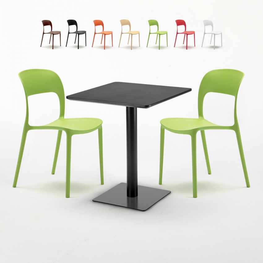 wholesale dealer 2f15b a9eda LICORICE Set Made of a 60x60cm Black Square Table and 2 Colourful  RESTAURANT Chairs