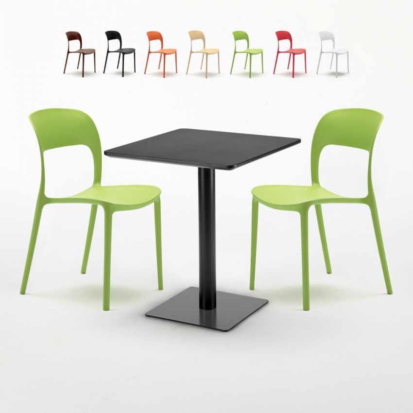 Tavolo Quadrato Con Sedie.Tavolo Quadrato Nero 60x60 Cm Con 2 Sedie Colorate Restaurant Licorice