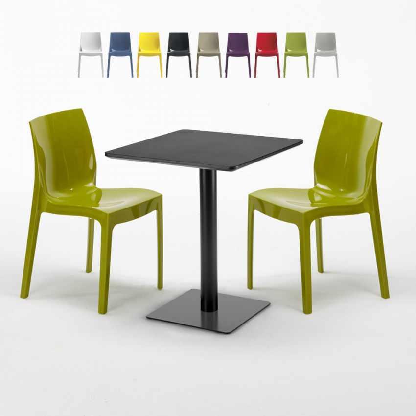 Tisch 60x60 Schwarz.Schwarz Tisch Quadratisch 60x60 Cm Mit 2 Bunten Stühlen Ice Licorice