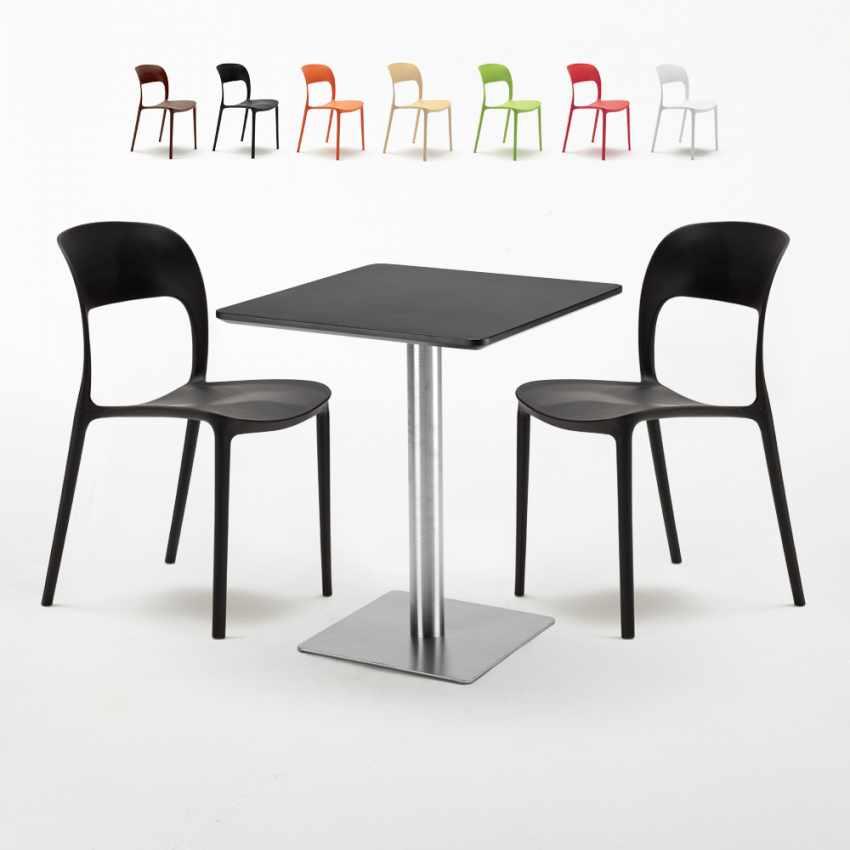 Tisch 60x60 Schwarz.Schwarz Tisch Quadratisch 60x60 Mit Stahlfuß Bunte Stühle Restaurant Pistachio