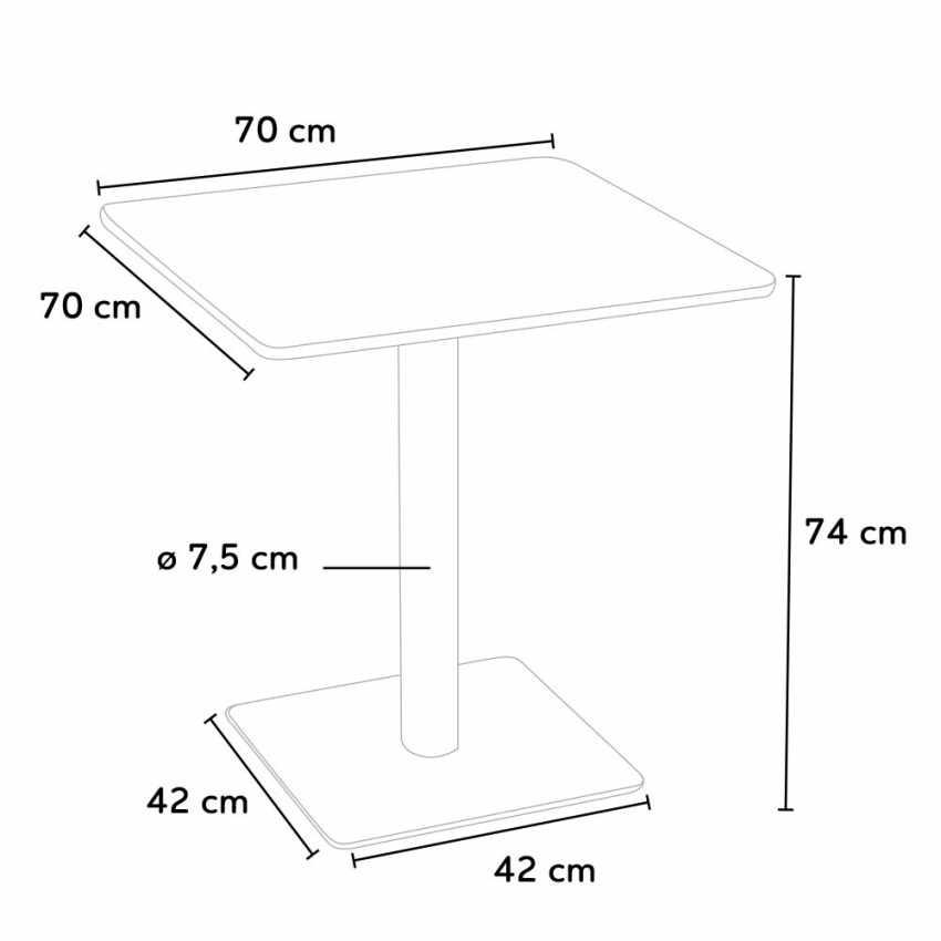 Quadratisch Tisch Holzeffekt 70x70 Cm Mit 2 Bunten Stühlen Gruvyer Melon