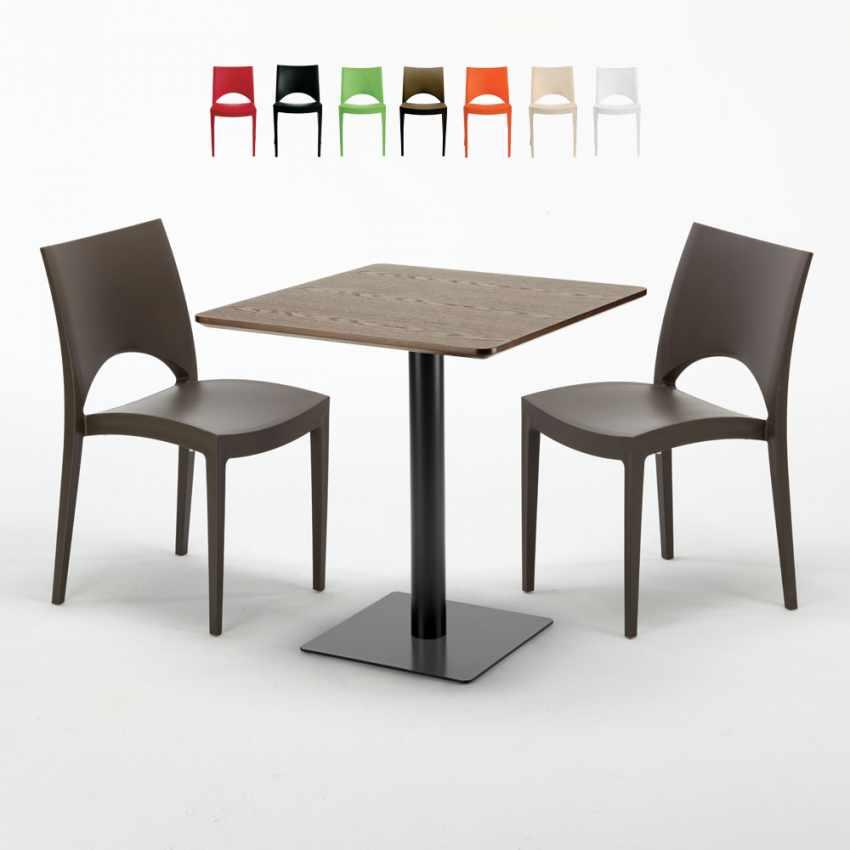 quadratisch tisch holzeffekt 70x70 cm mit 2 bunten st hlen. Black Bedroom Furniture Sets. Home Design Ideas
