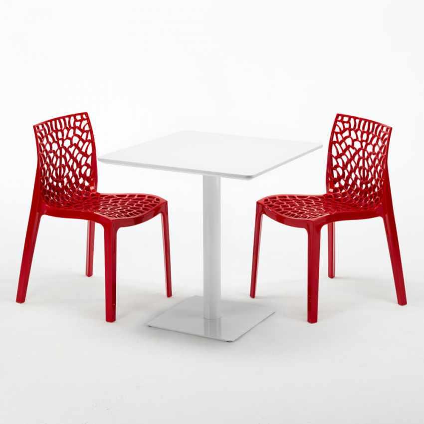 wei tisch quadratisch 70x70 cm mit 2 bunten st hlen. Black Bedroom Furniture Sets. Home Design Ideas