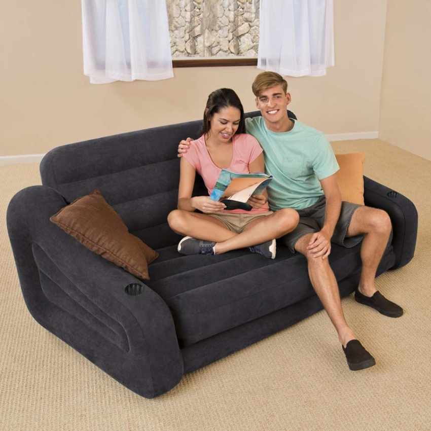 intex 68566 aufblasbares schlafsofa in blau 2 sitzer f r. Black Bedroom Furniture Sets. Home Design Ideas