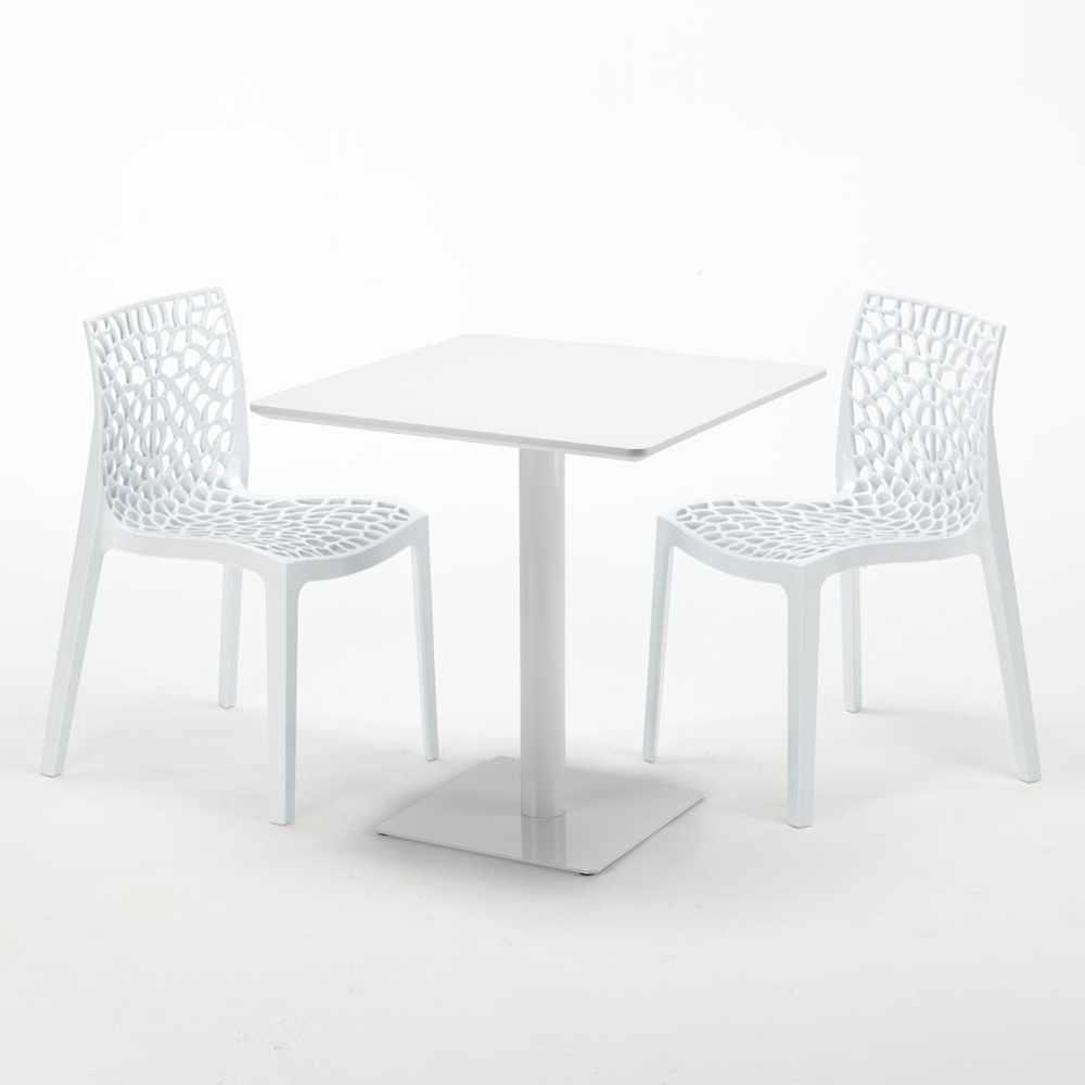 Table avec colorées blanche 2 sur chaises GRUVYER MERINGUE Détails carrée 70x70 n0wOkPN8XZ