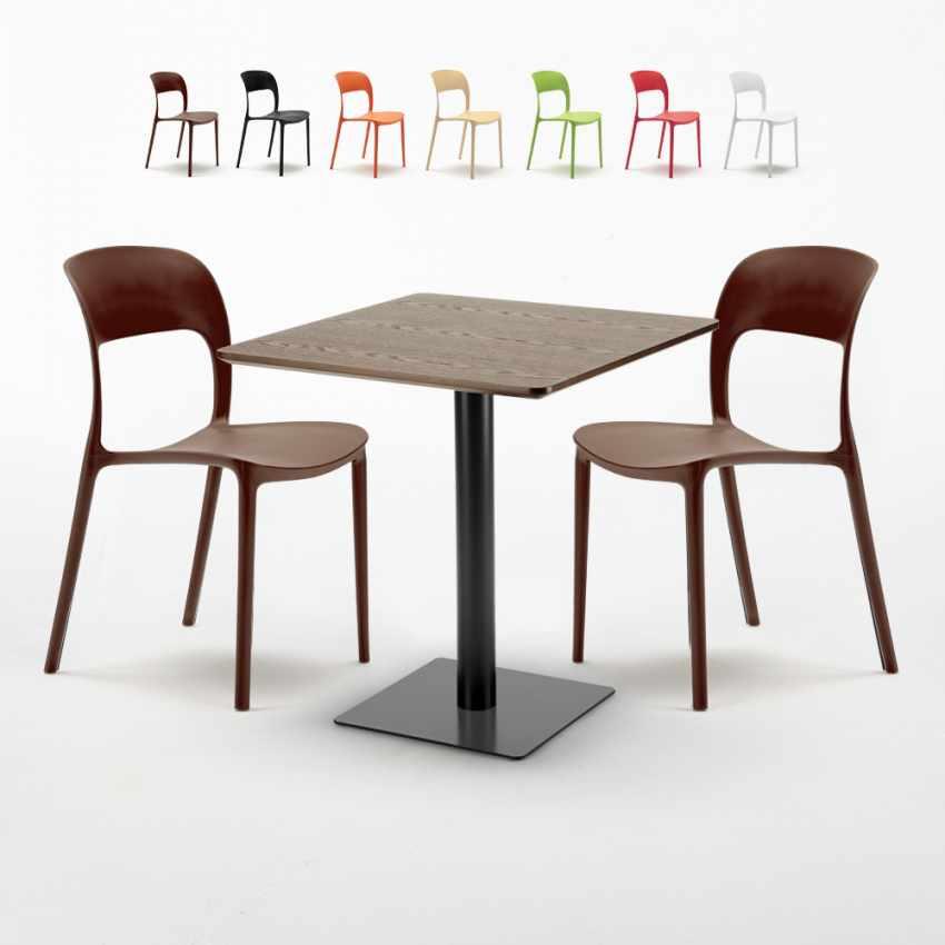 Sedie Colorate Legno.Tavolino Quadrato 70x70 Cm Effetto Legno Con 2 Sedie Colorate Restaurant Melon