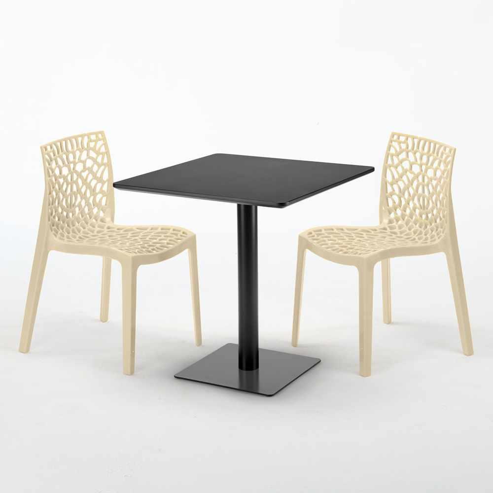 Schwarz Tisch Quadratisch 70x70 Cm Mit 2 Bunten Stühlen