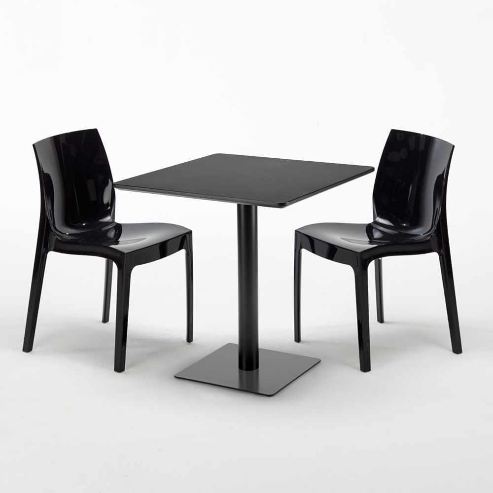 Ice Kiwi Tavolino Quadrato Nero 70x70 Cm Con 2 Sedie Colorate