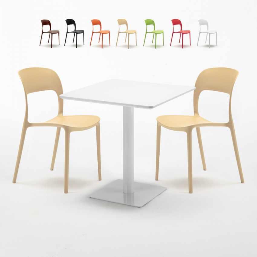 Weiß Quadratisch Tisch 70x70 Mit 2 Bunten Stühlen