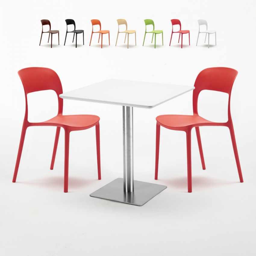 En Et Table Carrée 2 70x70 Restaurant Strawberry Pied Blanche Colorées Avec Chaises Acier 4cRL5AS3jq
