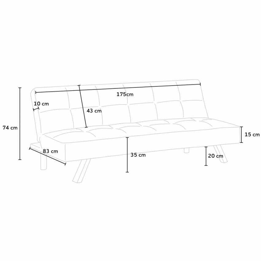 Canapé Clic Clac Convertible en tissu 2 places design moderne GEMMA - offerta
