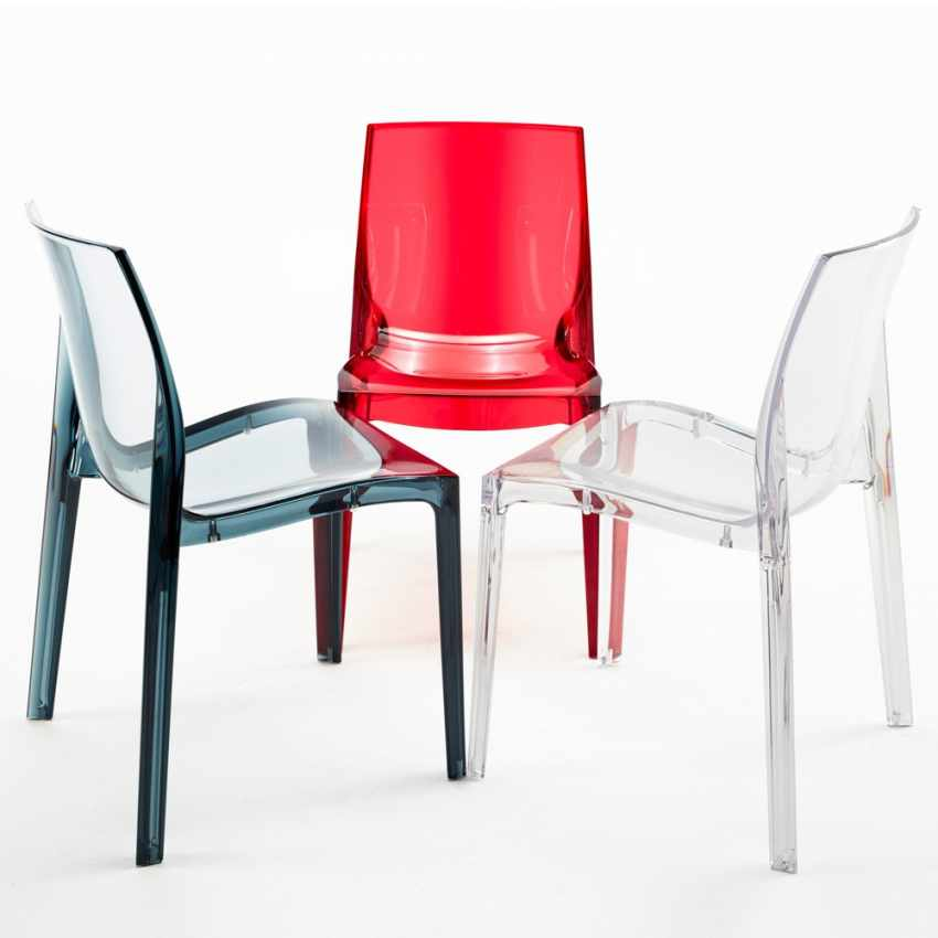 Lot of 16 Transparent Design Chair in Polycarbonate Made in Italy for the Kitchen Living Rooms FEMME FATALE - vendita