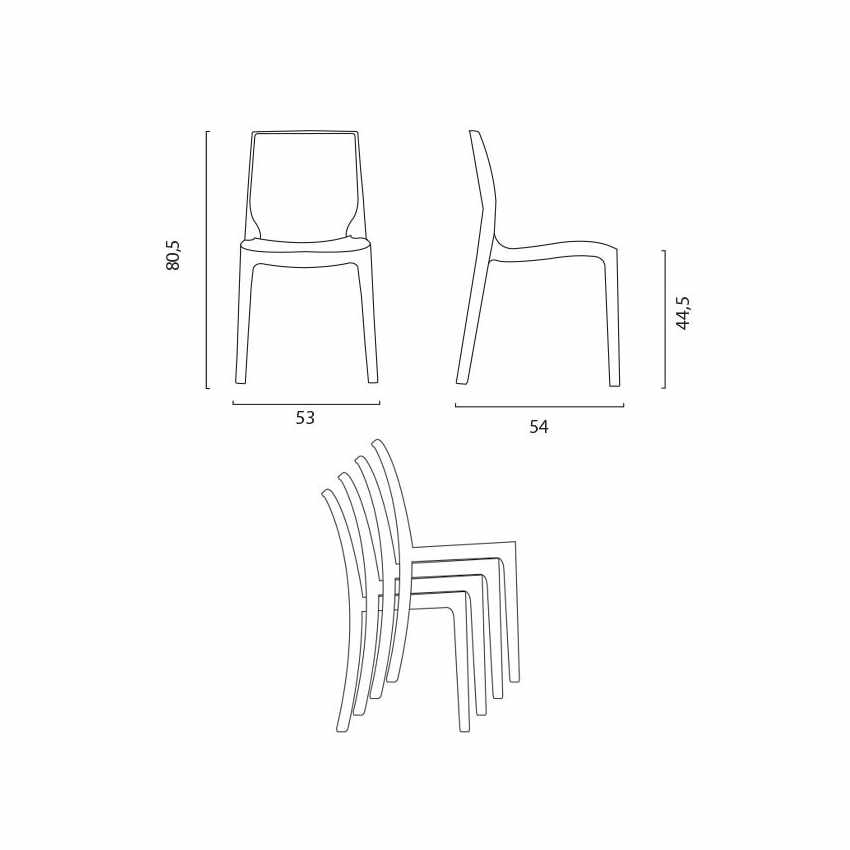 Lot of 16 Transparent Design Chair in Polycarbonate Made in Italy for the Kitchen Living Rooms FEMME FATALE - foto