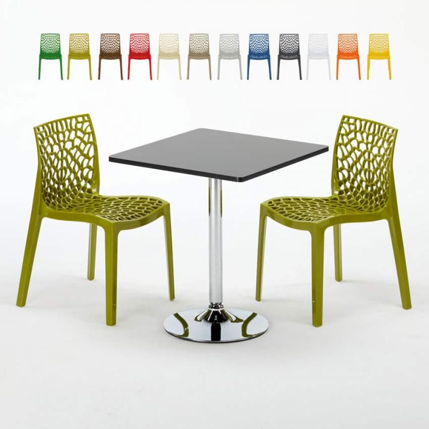 Table Carrée Noire 70x70cm Avec 2 Chaises Colorées Grand Soleil Set  Intérieur Bar Café GRUVYER MOJITO