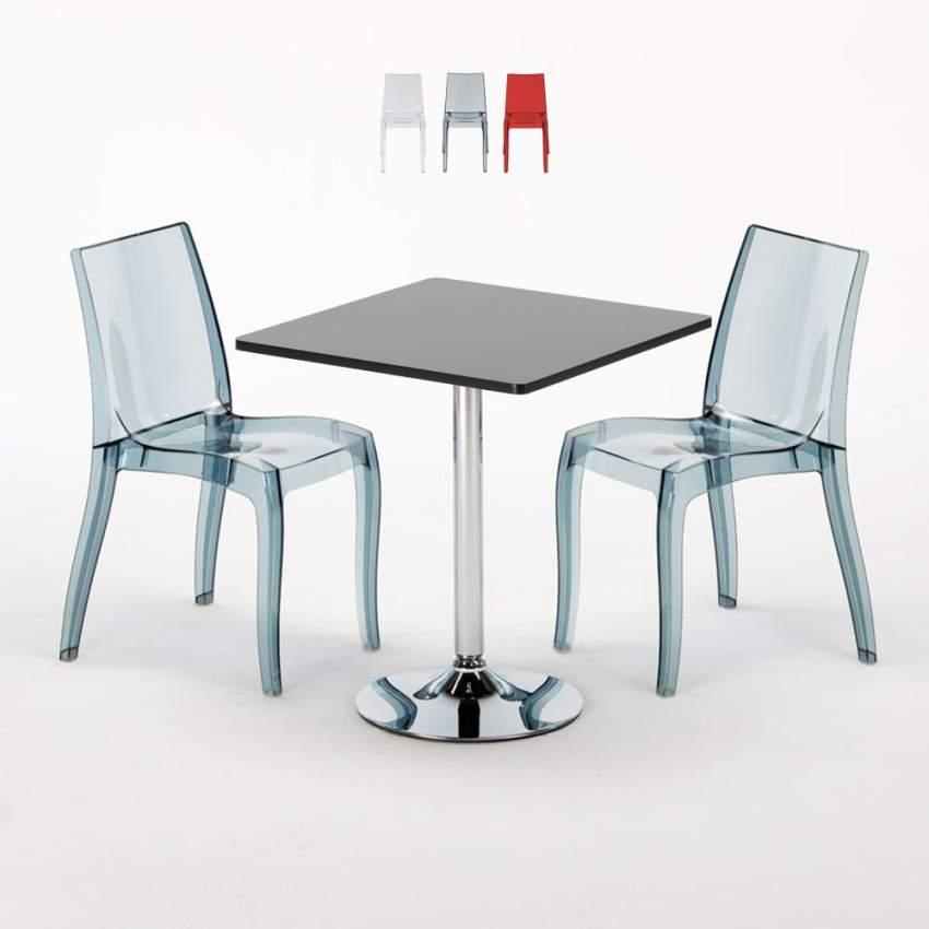Table Carrée Noire 70x70cm Avec 2 Chaises Colorées Et Transparentes Set  Intérieur Bar Café CRISTAL LIGHT PLATINUM