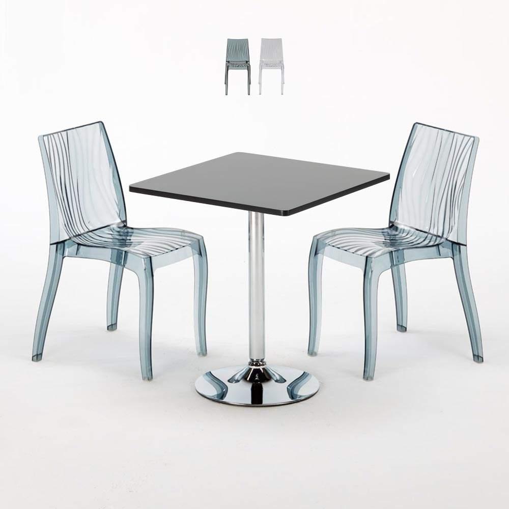 Dune Platinum Tavolino Quadrato Nero 70x70 Cm Con 2 Sedie Trasparenti