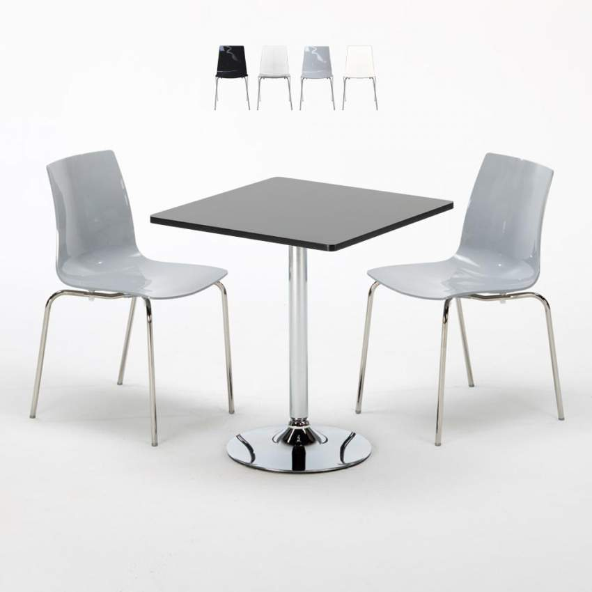 PLATINUM Set Made of a 70x70cm Black Square Table and 2 Colourful LOLLIPOP  Chairs
