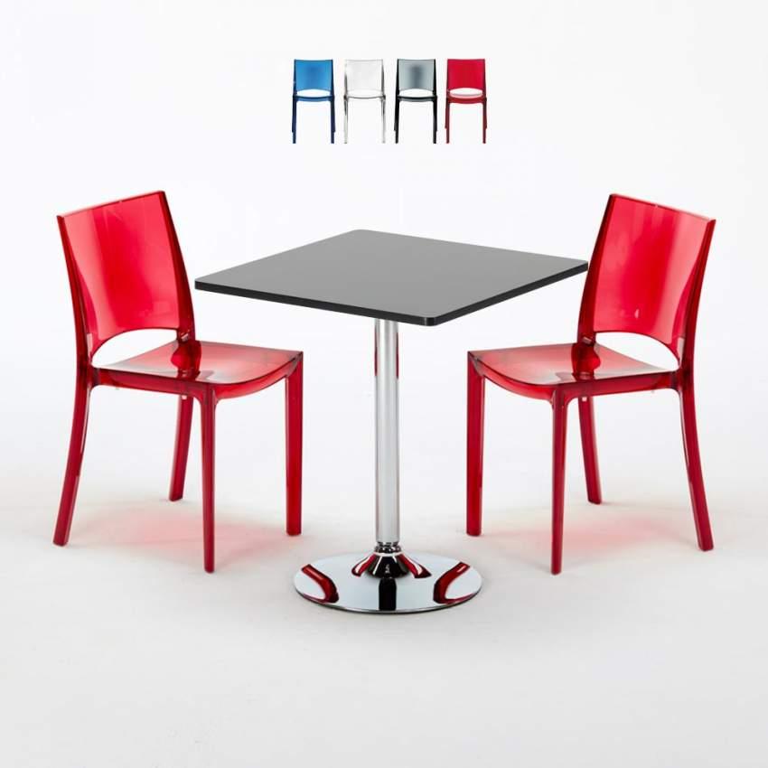 Tavolino Quadrato Nero 70x70 cm con 2 Sedie Colorate Trasparenti B ...