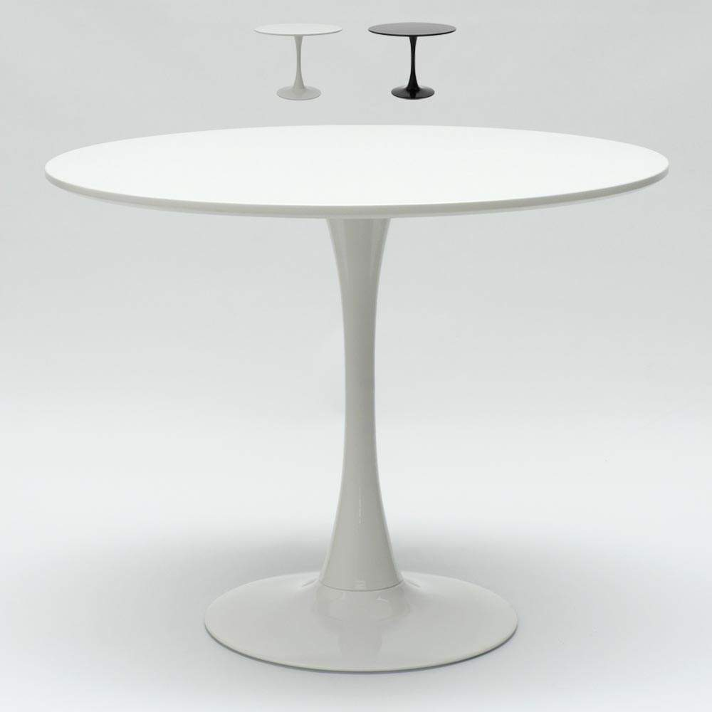 Tavolo Rotondo Bianco Usato.Tavolo Rotondo Nero E Bianco Per Bar E Soggiorno Casa Design Tulip