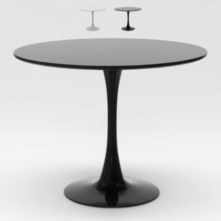 Black and white TULIP round table for bar and living room 80x80 cm - photo