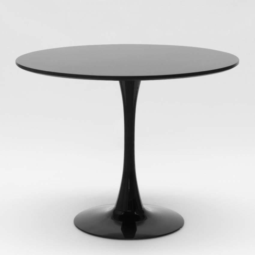 Table TULIP ronde noire et blanche pour bar et salon maison 80x80 cm - details