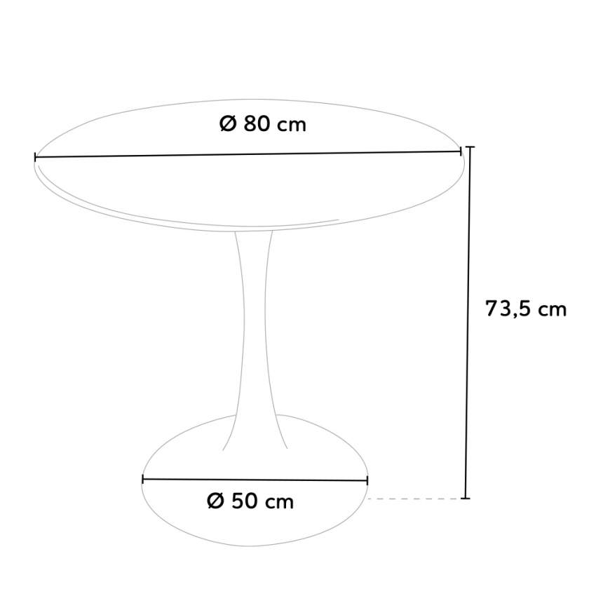 Black and white TULIP round table for bar and living room 80x80 cm - promo