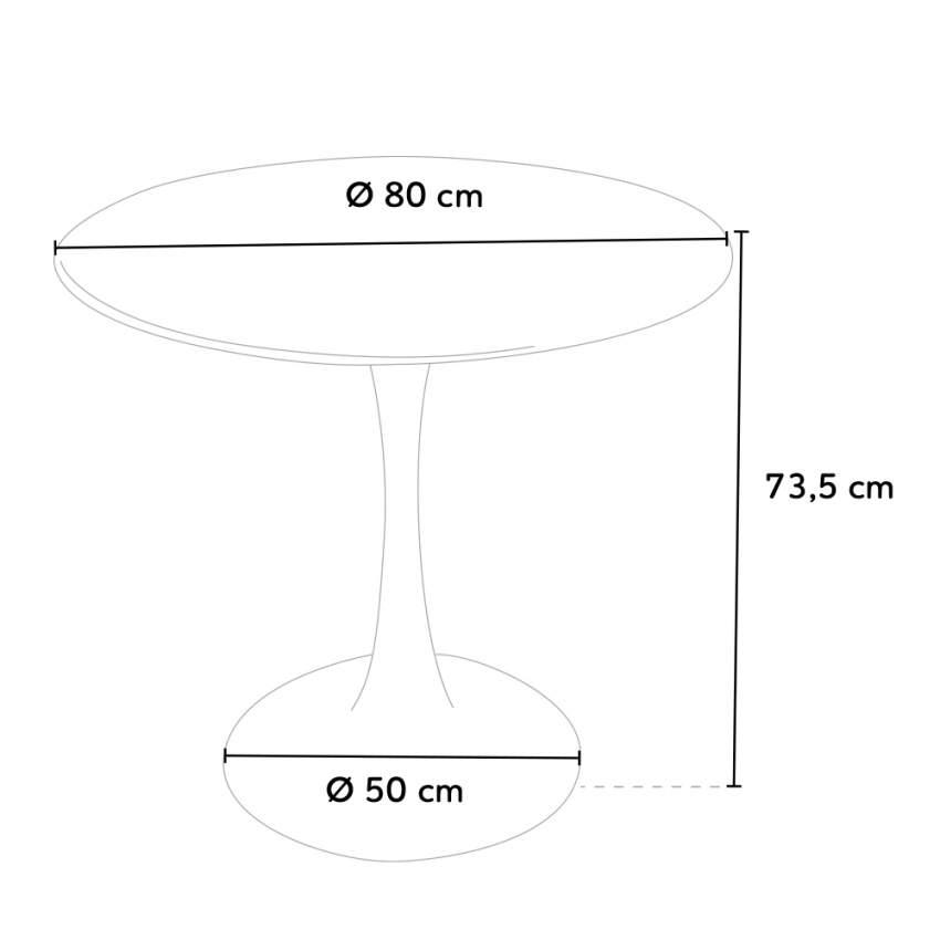 Rund Tisch TULIP 80x80 cm Inneneinrichtung Kaffee Bistro Lokale Weiß Schwarz - discount