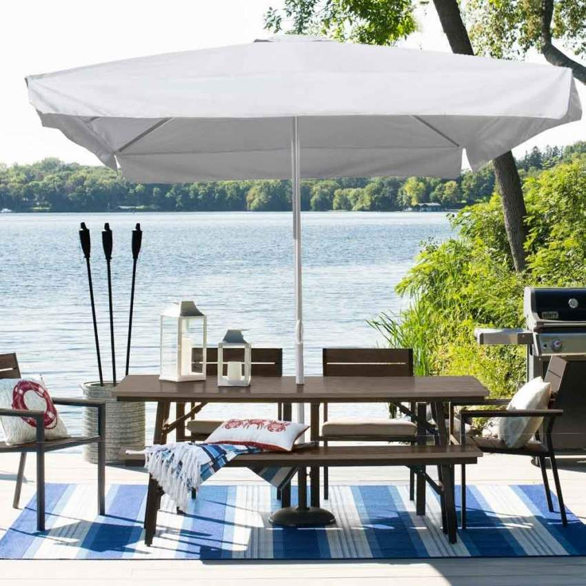 Ombrellone giardino 3x3 alluminio quadrato palo centrale bar hotel MARTE - details