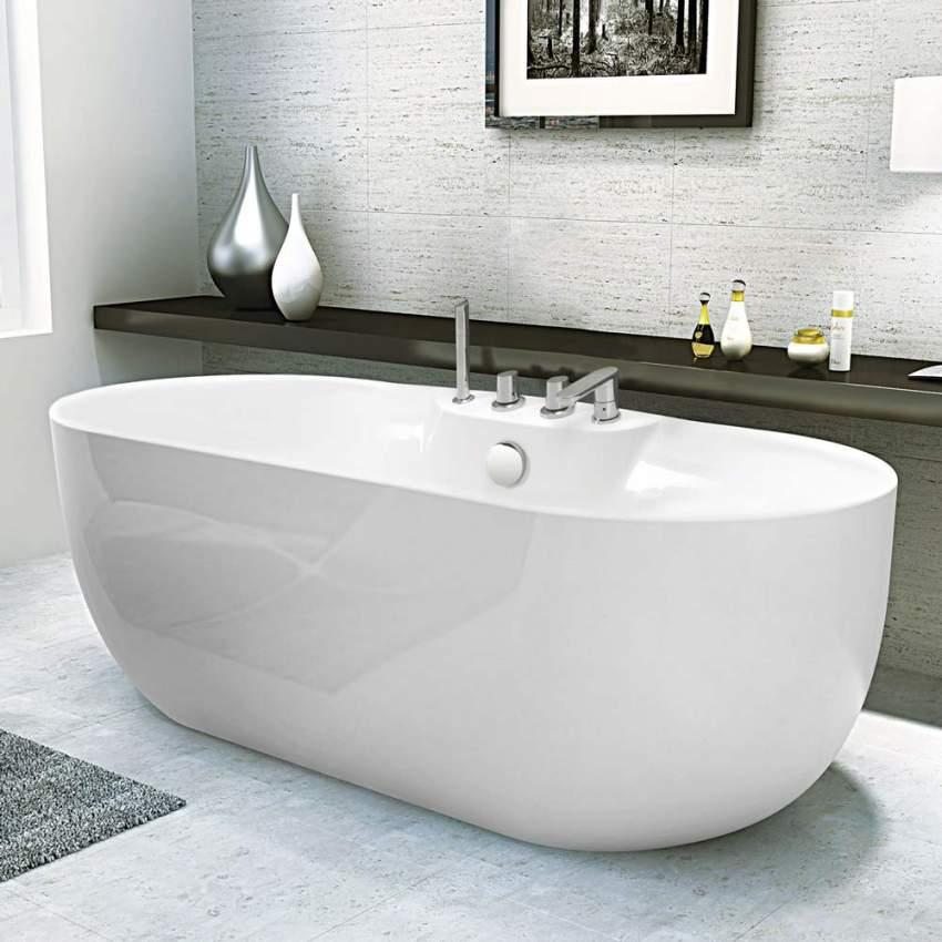 Vasca da bagno freestanding design in resina acrilica e fiberglass atmosphere for Vasca da bagno freestanding