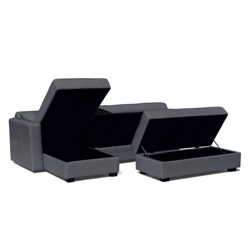 Canapé-lit 3 places convertible avec des sièges péninsule avec conteniteur MADREPERLA pouf - sales