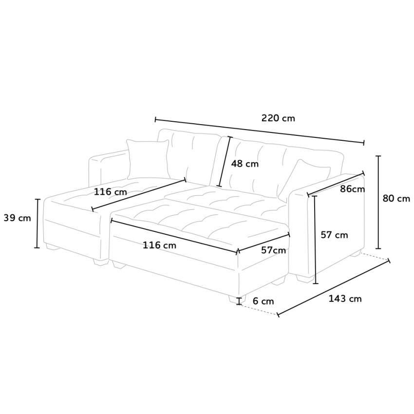 Divano letto angolare con penisola 3 posti con pouf contenitore MADREPERLA pronto letto - details