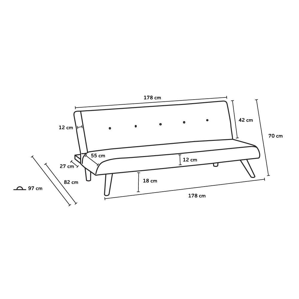 miniature 19 - Canapé-lit convertible 2 places Larimar en tissu pour le salon et le séjour