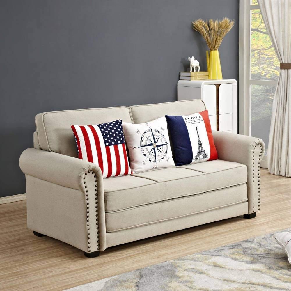 divano pronto letto componibile in tessuto con cuscini