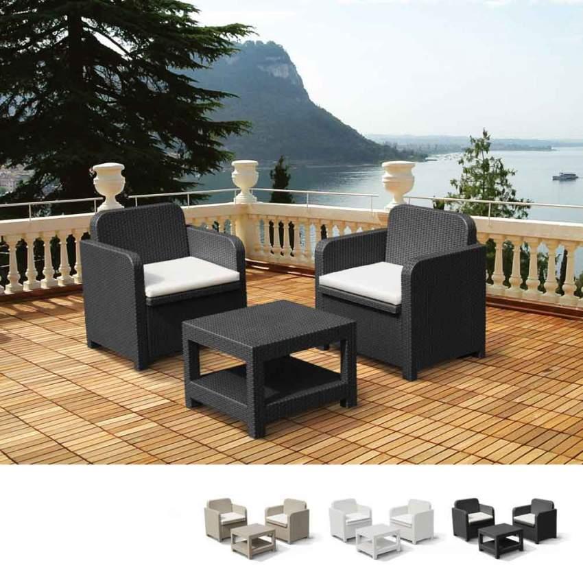 Salotto da esterni giardino poltrone Grand Soleil GIGLIO bar rattan 2 posti - rouge