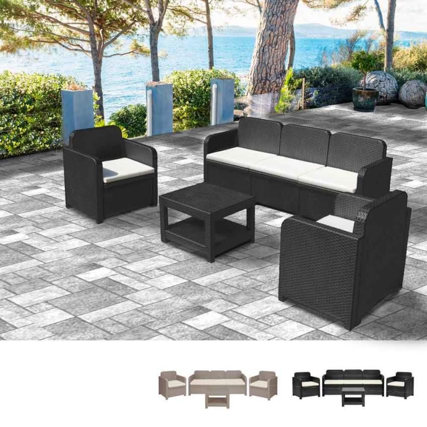 Salon de jardin Grand Soleil POSITANO en Poly rotin Canapé table basse  fauteuils 5 places pour extérieurs