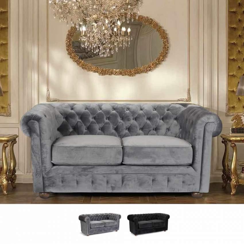 Canapé en tissu velouté deux places Capitonné CHESTERFIELD Design - immagine