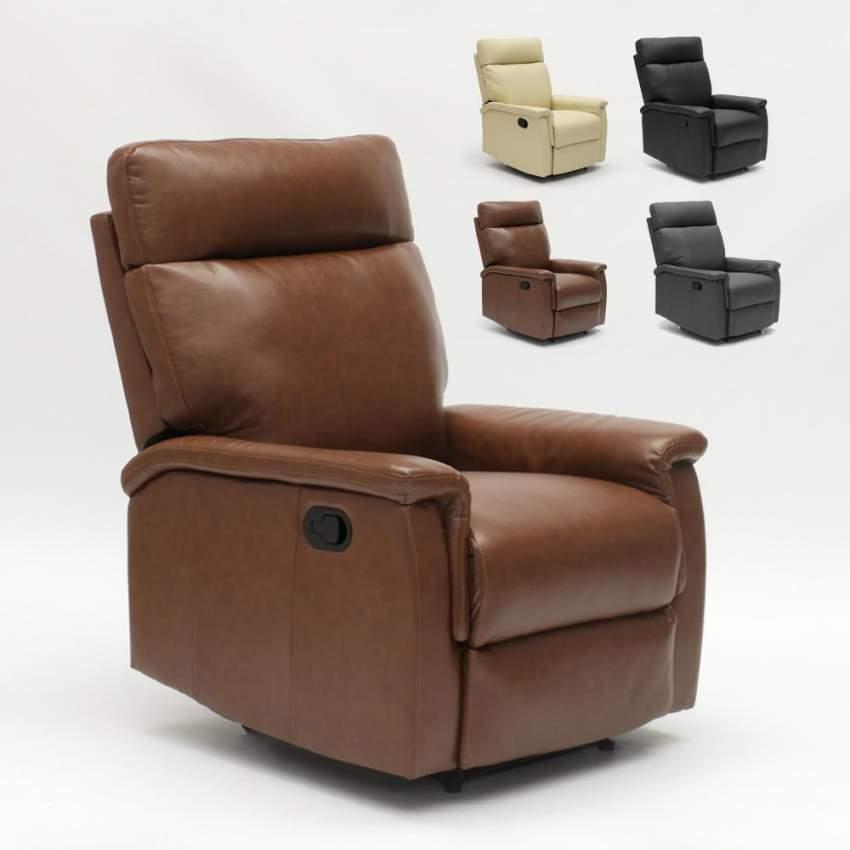 Poltrona Relax Con Poggiapiedi.Poltrona Relax Reclinabile Con Poggiapiedi In Similpelle Design Aurora