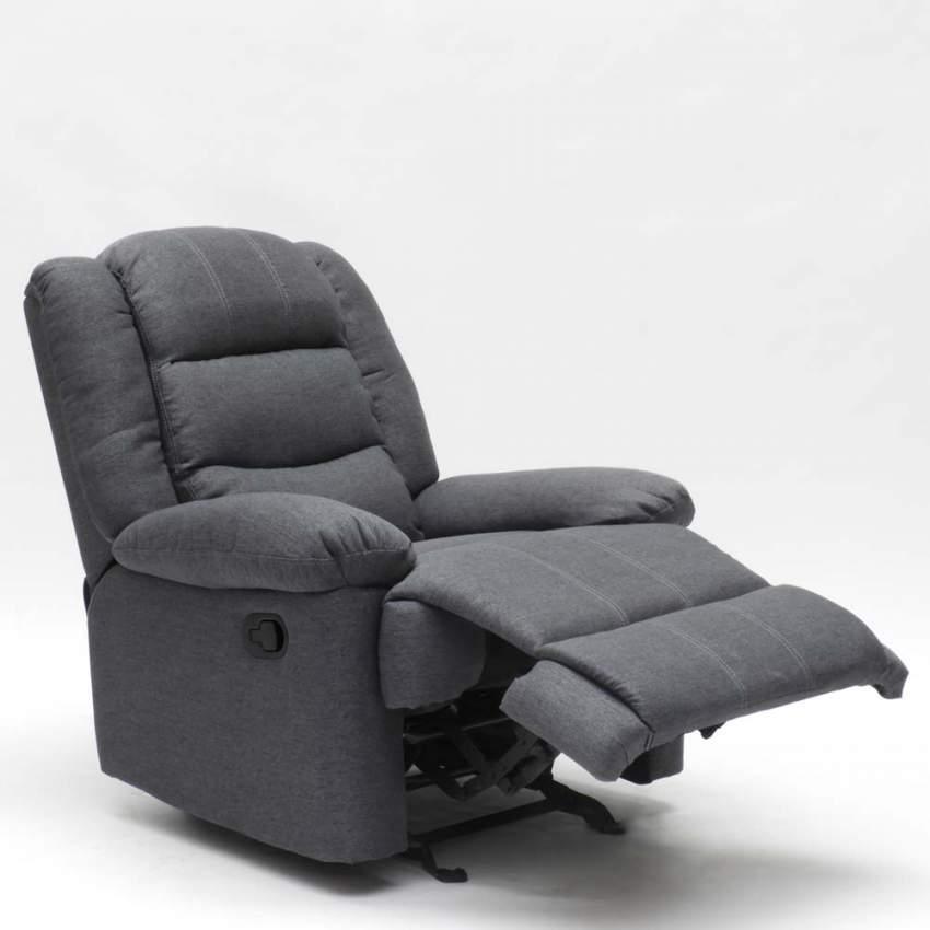 Poltrona Reclinabile Dondolo.Poltrona A Dondolo Relax Reclinabile Con Poggiapiedi In Tessuto Design Sofia