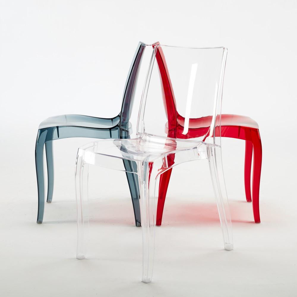 miniature 24 - Chaise salle à manger bar transparent empilable CRISTAL LIGHT Grand Soleil