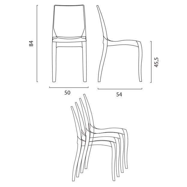 miniature 16 - Chaise salle à manger bar transparent empilable CRISTAL LIGHT Grand Soleil
